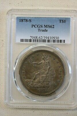 1878-S Trade Dollar, MS62, PCGS Beautiful toning