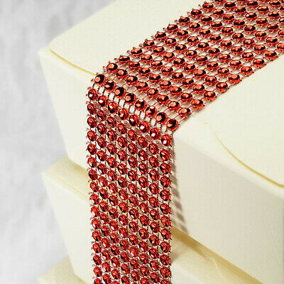 Bright Red Diamante Crafting Strip 8 Rows X 1.5M Wedding Party Craft Gift Wrap