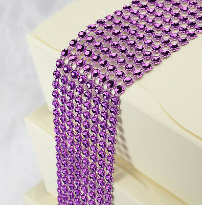 Purple Diamante Crafting Strip 8 Rows X 1.5M Wedding Party Craft Gift Wrap