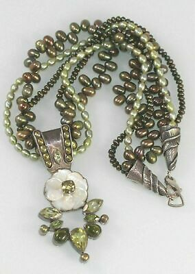 Echo Of The Dreamer sterling silver necklace Mother Pearl Flower Peridot Pearls