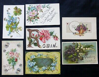 lot of 7  Antique Greeting Post Cards with Glitter  #8111
