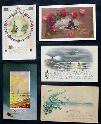 lot of 5 Collectible Post Cards  GREETINGS with Sailboats  #8113