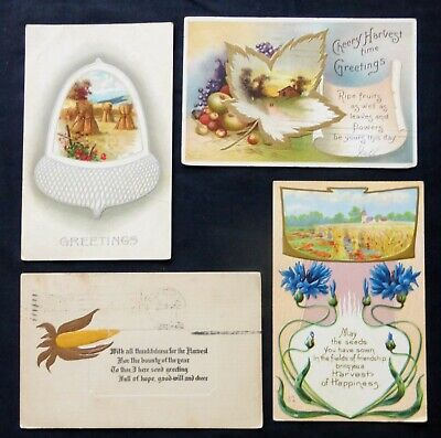 HARVEST GREETINGS:   4 Antique Post Cards   #8116