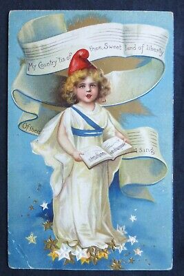 PATRIOTIC GIRL PM 1909 International Art Post Card  #8136