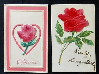 Large FELT ROSE   2 Antique Post Cards    #8120