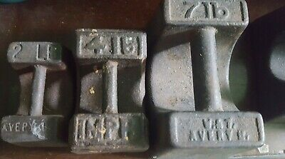 3 Vintage Cast Iron Weights 2, 4, & 7lb with hand held grip