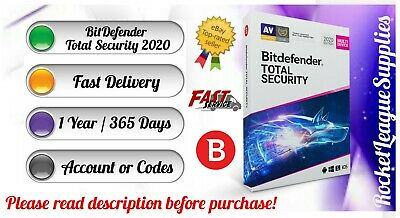 Bitdefender Total Security 2020 (5PC/ 1 YEAR / 365 DAYS) Website Account PC MAC
