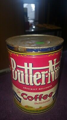 VINTAGE BUTTER NUT COFFEE CAN 2 LBs Pounds # DRIP GRIND Butter-Nut TIN with LID