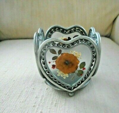 Beautiful Pressed Flower Metal & Glass Votive Tealight Candle Holder