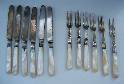 Vintage Silver Plated & Mother of Pearl Fruit/Dessert Knives & Forks - 12 Pieces