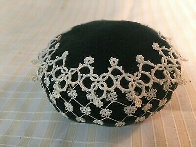 Vintage Velvet and Crochet Lace Pin Cushion