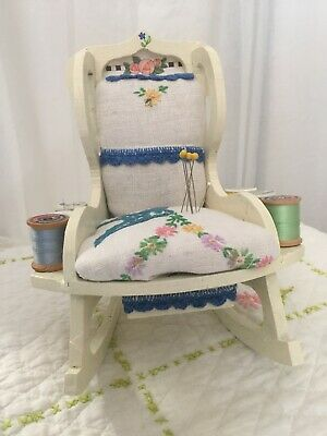 Vintage Rocking chair Pin Cushion with thread - Embroidered