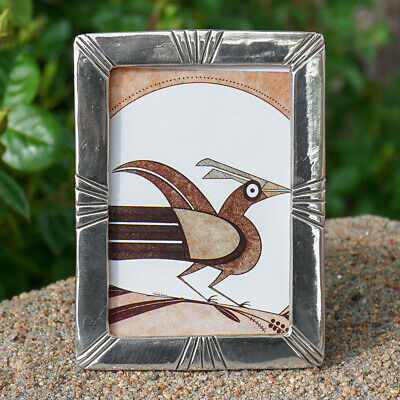 NAVAJO - STERLING SILVER PICTURE FRAME by HARRISON YAZZIE-NATIVE AMERICAN