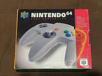 Official Nintendo 64 N64 Controller Gray Complete in Box Works