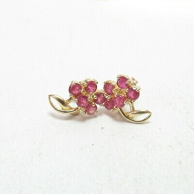 Estate 14K Yellow Gold Natural Round Rose Red Ruby Flower Stud Earrings 0.90 Cts