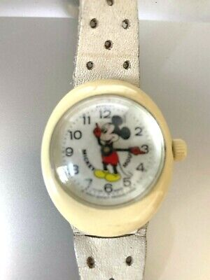 Vintage Mickey Mouse Disney Watch, White Leather Band, Bradley, Swiss Made