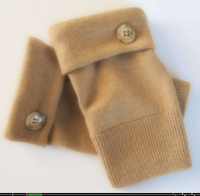 Fingerless Gloves Light Brown 100% Merino Wool One Size Fits Most S M L Texting