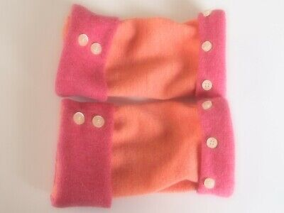 Fingerless Gloves Women's Pink Orange 100% Merino Wool Size Medium Texting