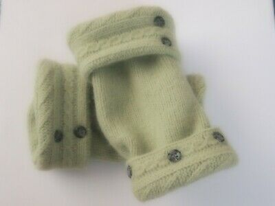Fingerless Gloves Lime Green Women's 100% Merino Wool One Size Fits Most S M L