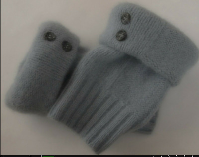 Fingerless Gloves Blue Gray Women's Angora Wool Short One Size Fits Most S M L