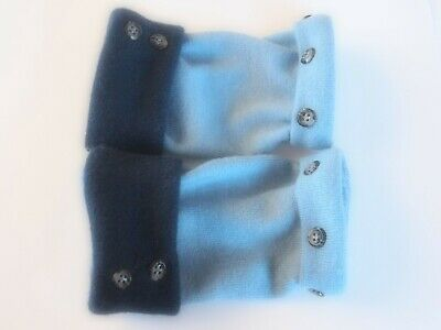 Fingerless Gloves Blue 100% Merino Wool Women's Size S - M Small - Medium Text