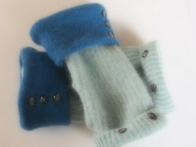 Fingerless Gloves Women's Blue Cashmere Angora Wool Size M - L Medium - Large