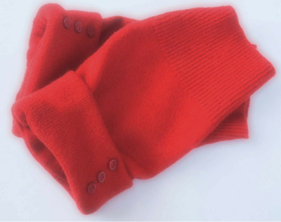 Fingerless Gloves Red Women's Merino Wool One Size Fits Most Small Medium Large