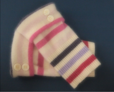 Fingerless Gloves Pink Purple Ivory Striped Women's Cashmere S- M Small - Medium