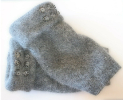 Fingerless Gloves Gray Women's Grey Angora Wool One Size Fits Most S M L Texting