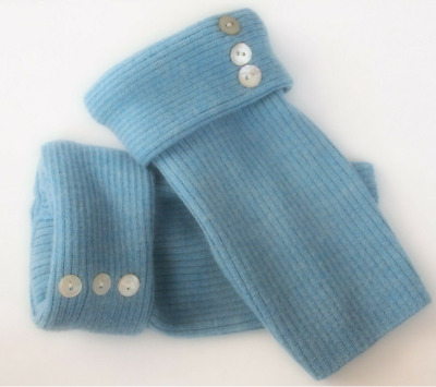 Fingerless Gloves Blue Women's 100% Merino Wool Size Size Small  S Texting Gift