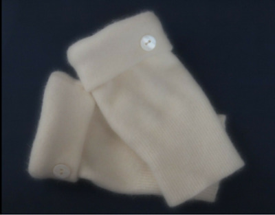 Fingerless Gloves White  Ivory Angora Cashmere Wool Women's Small - Medium S - M