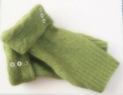 Fingerless Gloves Women's Green Moss 100% Cashmere One Size Fits Most S M L