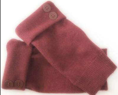 Fingerless Gloves Maroon Red  Women's 100% Merin0 Wool Size S - M Small - Medium