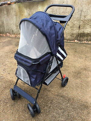 Paws & Pals PTST02BK 4 Wheeler Pet Stroller for Dogs and Cats - BLUE