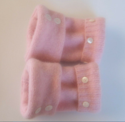 Fingerless Gloves Light Pink Women's Angora Wool One Size Fits Most S M L Text