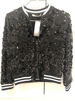 M&S Girls Black Sequin Jacket Brand New 9-10