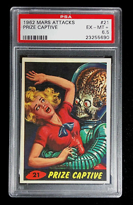 Mars Attacks Psa 6.5 Ex-Mt+ 1962 Bubbles / Topps Prize Captive Card No.21 Nq