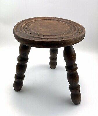 Vintage French Wooden Carved Top Turned leg Stool Plant Stand