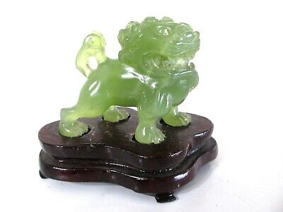 Dynasty Old Green Jade Chinese Foo Dog Lion Hand Carved Figure Statue Stand.