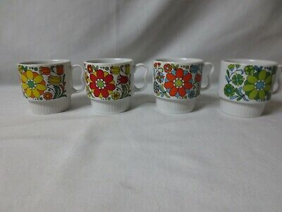 Set of FOUR Made in Japan Floral Coffee Cups Mugs Flowers