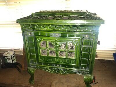 Antique French Phebus  solid fuel stove cast iron enameled