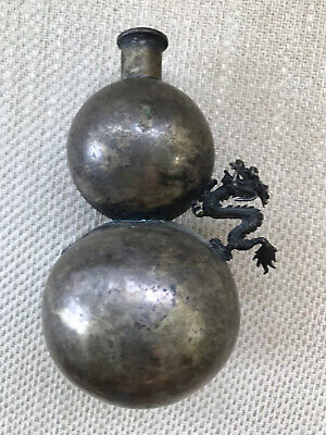 Antique Chinese Double Gourd Metal Dragon Silver Snuff Bottle Has Maker Mark