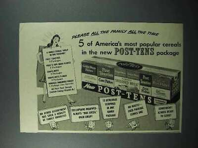 1942 Post-Tens Cereal Package Ad - Bran Flakes