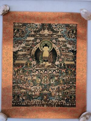 "Very Rare Large Old Chinese ""ThangKa"" Buddha Paper Painting"