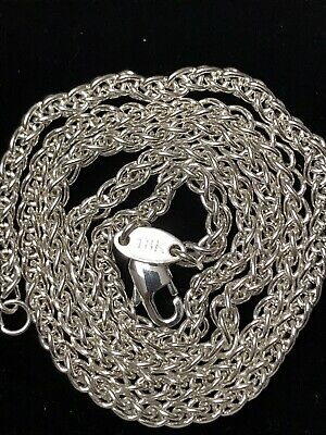 """18K SOLID White Gold Wheat Chain Necklace 20"""" And 14.2G Brand New Stunning!"""