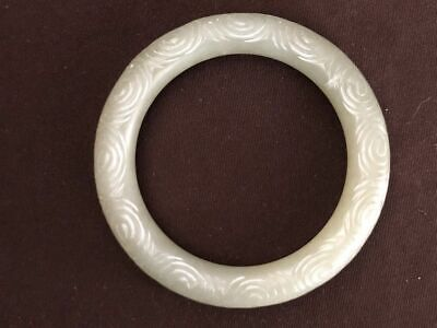 Old Chinese Hand Carving Whirlpool Natural Nephrite Jade Women Bangle Bracelet