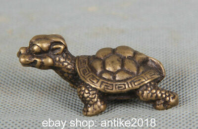 4.5CM Old Chinese Bronze Copper Feng Shui tortoise turtle Animal Sculpture