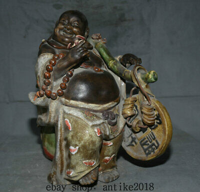 """16"""" Old Chinese Wu Cai Porcelain Happy Laugh Maitreya Buddha Coins Wealth Statue"""