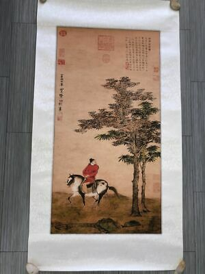 Rare Large Old Chinese Painting of Figure and Landscape on Paper with Marks
