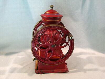 Vintage CAST IRON HOUSE OF WEBSTER COFFEE MILL GRINDER - WHEEL SIZE 7""